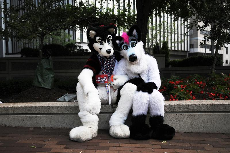 Sy Husky (left) and Jyno pause for a photo during Anthrocon.