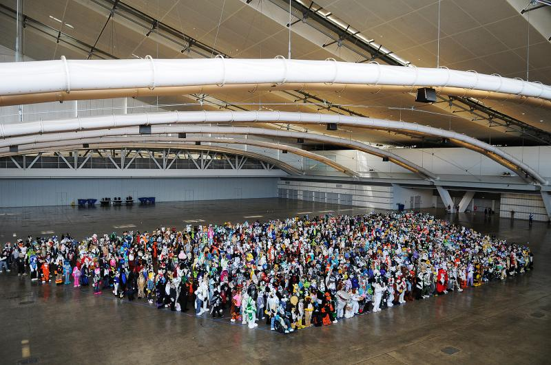 Anthrocon organizers said 1,162 costumed furries gathered Saturday for this photo op. Convention officials said they planned to submit the number to Guinness World Records.