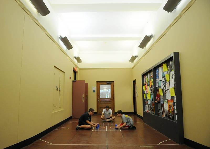 During the camp, play areas spread out everywhere, including in this hallway at Carnegie Mellon University earlier this week.