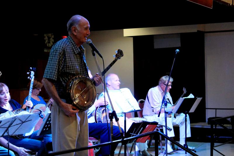 Frank Rossi, the founder of the Pittsburgh Banjo Club, leads the group and always starts each song with a little history lesson for the younger members of the audience who aren't familiar with the older music.