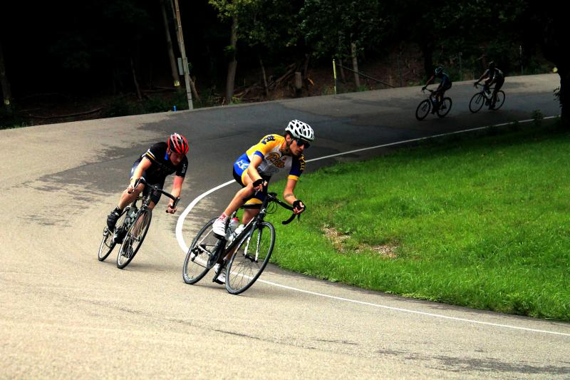 The half-mile cycling track features banked walls to help riders maintain their speed.