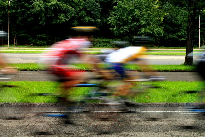 Riders pick up some serious speed during a race.