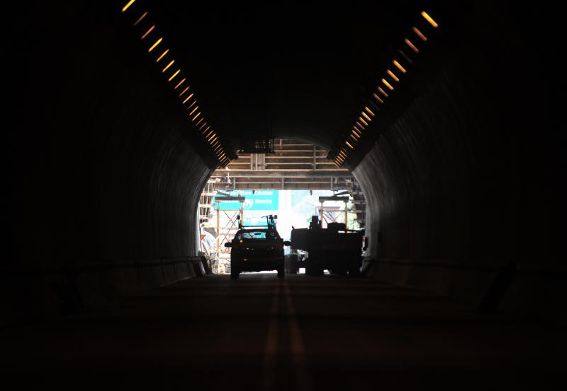 The north end of the inbound tunnel, as seen from inside. Drivers making their way from the South Hills toward downtown Pittsburgh have had to take a detour around the tunnel.