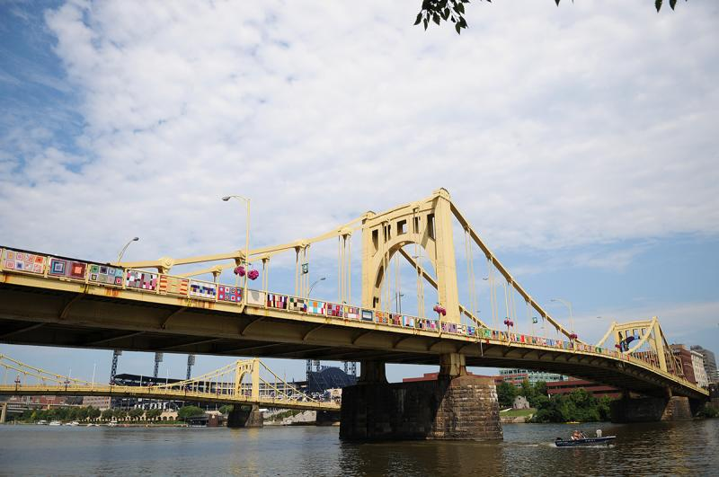 The Knit the Bridge project got underway at the Andy Warhol Bridge Saturday morning.