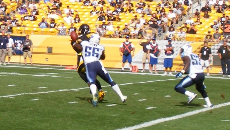The Titans' Zach Brown forces Pittsburgh's Isaaac Redman to cough up the ball late in the fourth quarter of the Steelers 16-9 loss.