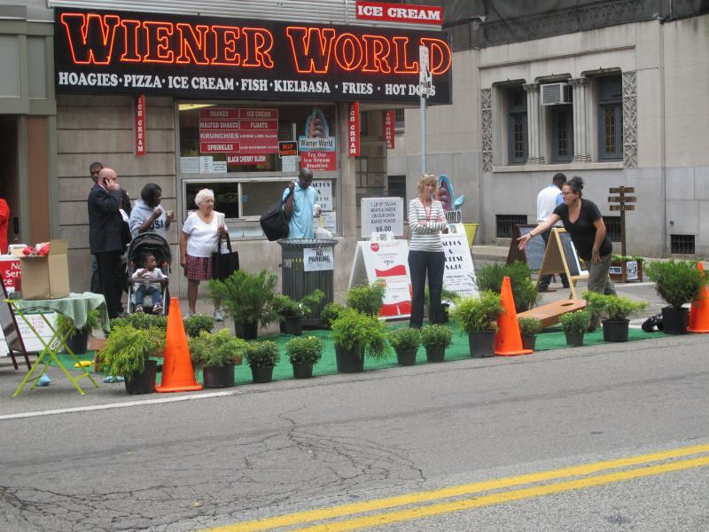 "Parking spaces throughout Pittsburgh were transformed into art installations, sitting areas and small ""parklets"" Friday as part of international PARK(ing) Day."