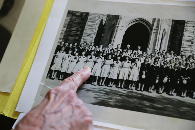 Parsons points to herself posing alongside her fellow code breakers in a group photo from the early 1940s.