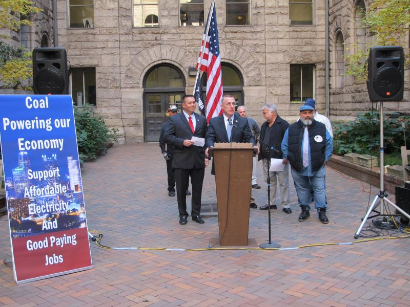 Congressman Tim Murphy with Coal Industry Leaders at the Allegheny County Courthouse. (From left to right: John Pippy, CEO of the PA Coal Alliance; Congressman Murphy; Ron Stipanovich, United Mine Workers; and Ray Ventrone, Boilermakers Local 154)