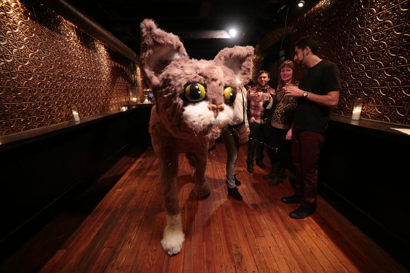 A giant cat draws a great deal of attention at the latest RAW/Pittsburgh exhibition.