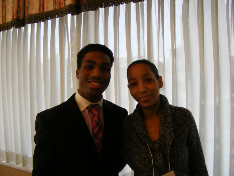 Homeless student Kevin Lee, winner of a national scholarship, with his mother Tamara Williams