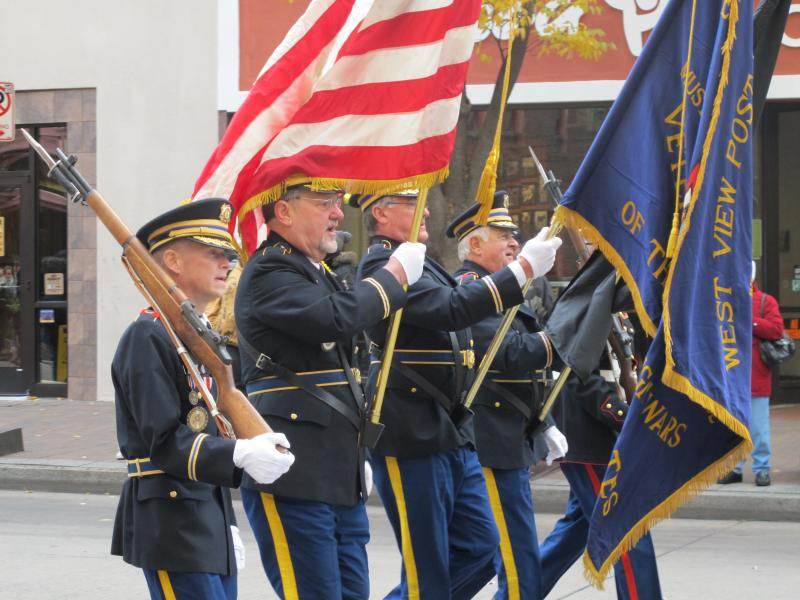 Members of the West View VFW march in Monday's parade.