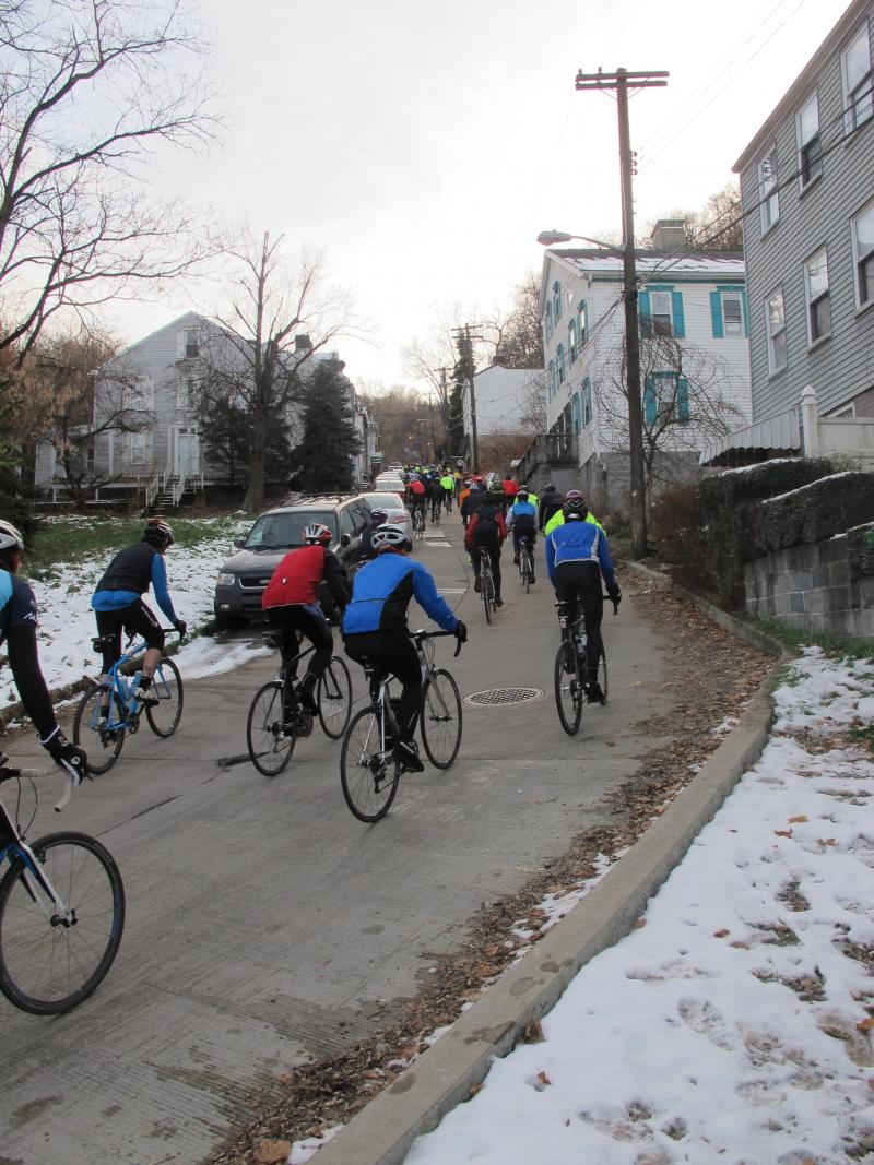 Riders pedal along Welsh Way on the South Side during the Dirty Dozen.