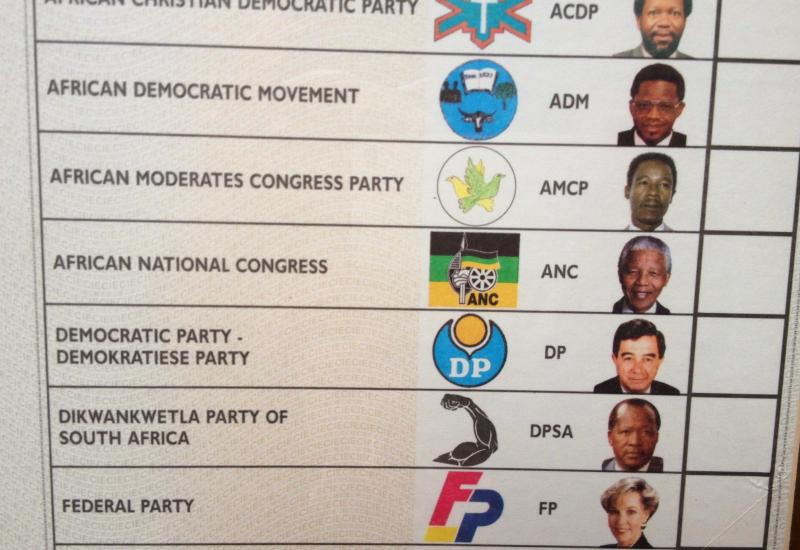 An official ballot from the 1993 South African Presidental election. Nelson Mandela is listed in the middle.