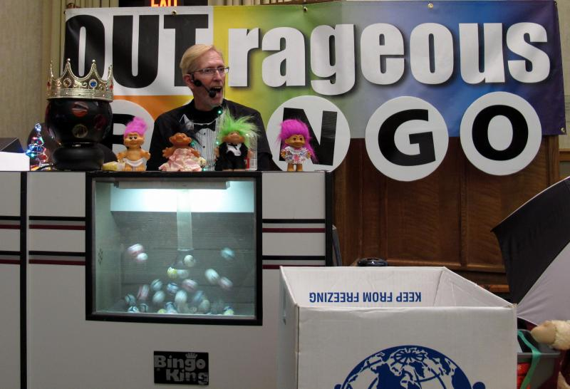 OUTrageous Bingo co-founder Rick Allison calls a recent game at Rodef Shalom in Oakland.