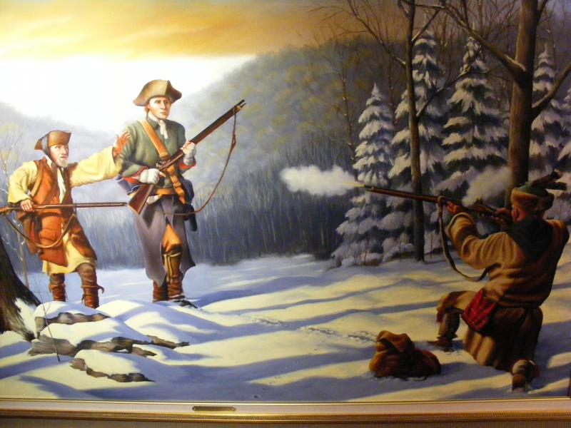 Judge O'Brien had a painting commissioned by Deac Mong to commemorate Washington's journey. It depicts Washington & his companion being shot at by a native american loyal to the French. The painting is currently on display in the Butler County courthouse.