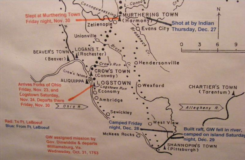 This map illustrates what's known about the route Washington took through Western PA. Red writing for the journey to Ft. LeBoeuf & Blue for the journey back to Virginia