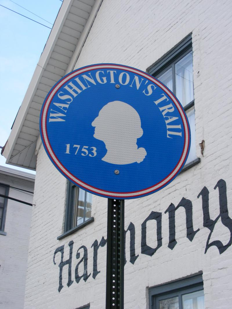 Historic markers along Washington's route through the Western Pennsylvania countryside. They mark a driving route that follows young George Washington's first military and diplomatic venture in the Fall and Winter 1753 - 1754.
