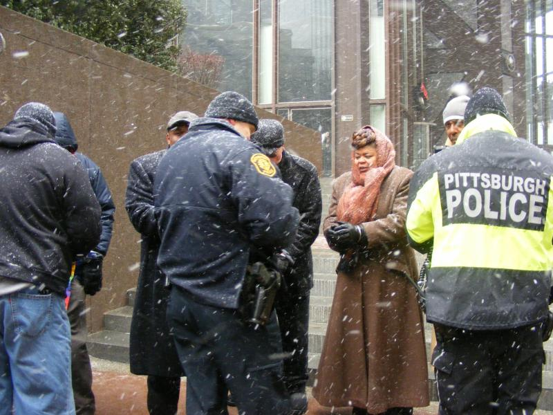Pittsburgh police arrested several faith leaders for trying to enter the U.S. Steel Building.