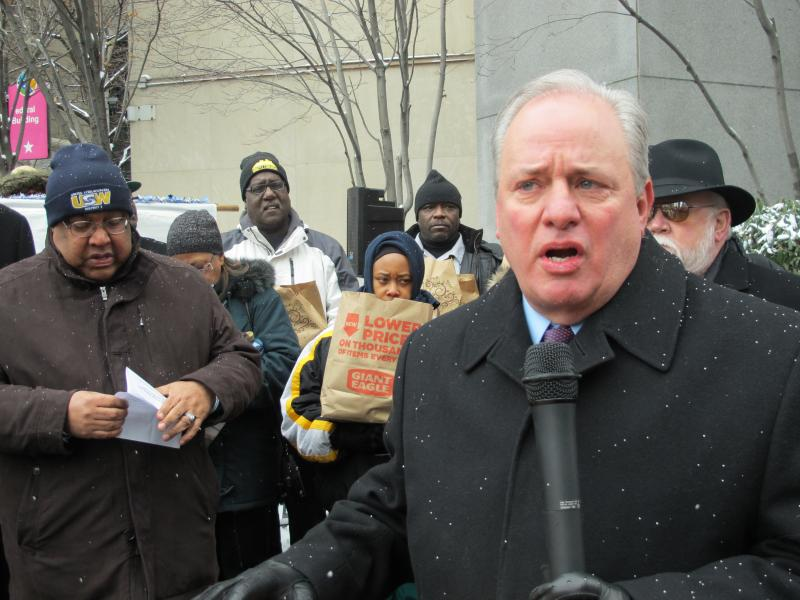 On Monday, U.S. Representative Mike Doyle condemned UPMC for alleged labor violations.