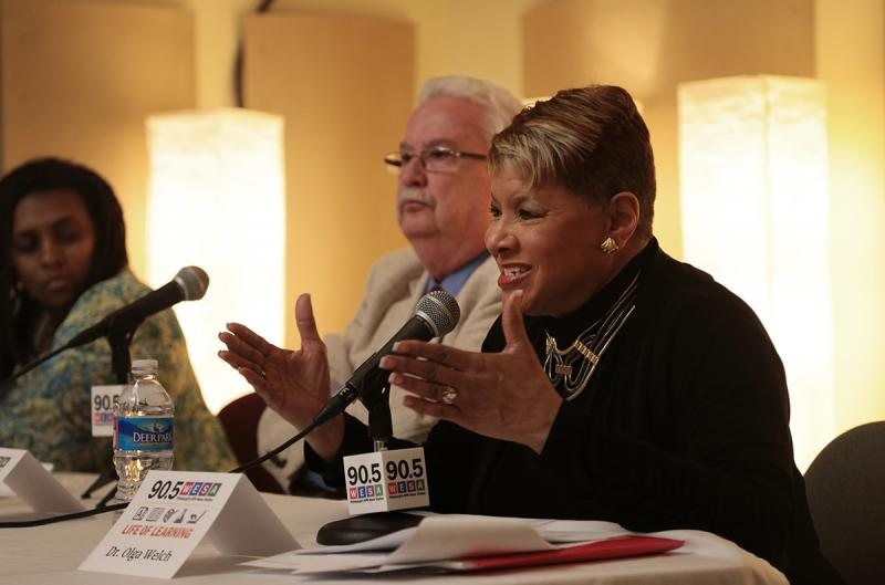 Olga Welch, dean of the School of Education at Duquesne University, addresses a question during the forum.