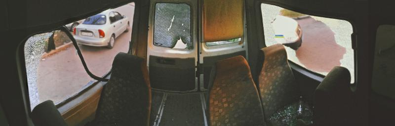 Inside the damaged van