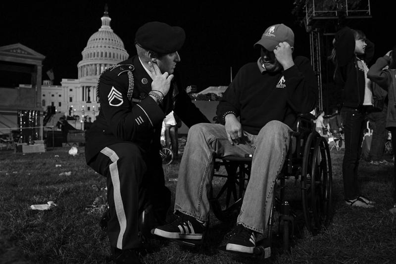 A wounded veteran approached Earl on the National Mall and confided in him about issues he is facing.