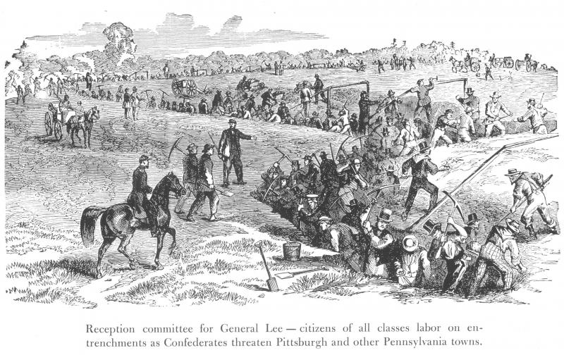 An illustration depicting the effort to build defenseworks in Pittsburgh during the Civil War..