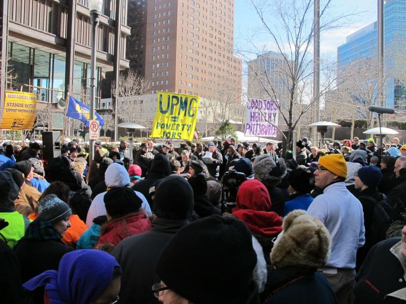 Hundreds of protesters gathered downtown on Monday.