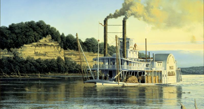 An artist recreation of the Arabia, the Pittsburgh steamboat found in a cornfield in Kansas.