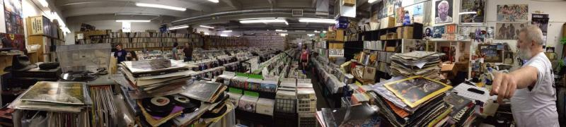 A panoramic view of the main room at Jerry's Records.