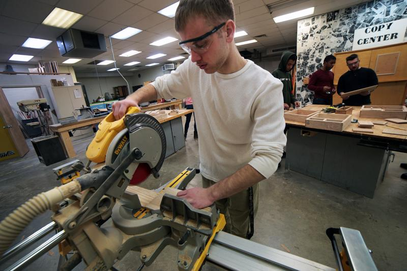 Sto-Rox High School students such as senior Damon Baylor use power tools during their construction technology class.