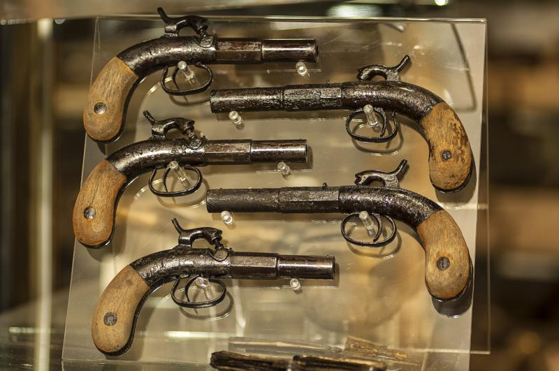 The Arabia's cargo contained multiple firearms, including 15 single-shot walnut-gripped boot pistols.