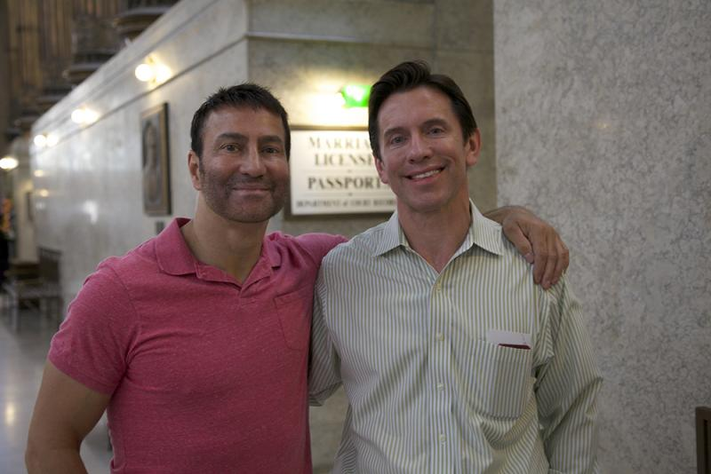 Bill Rushlander and Rob Sauritch filed for a marriage license at the City-County Building marriage license office one day after a federal judge struck down Pennsylvania's Defense of Marriage Act.