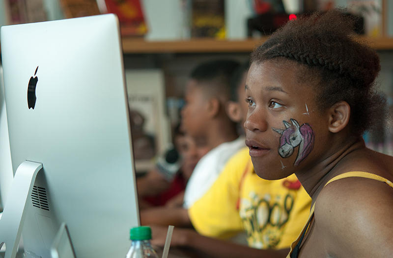 Nate-Tra Polk, 15, participates in The Labs at the Carnegie library's East Liberty branch.