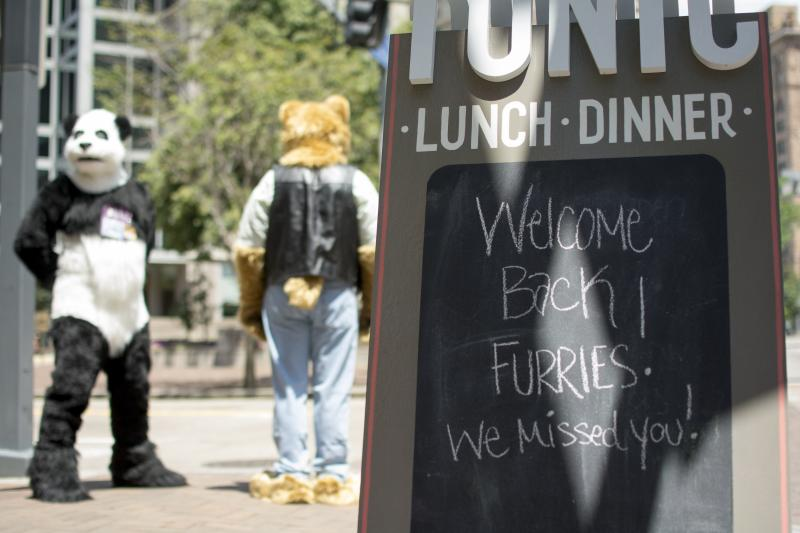 A local business posted a sign welcoming back the furries.