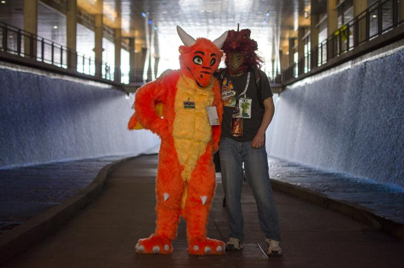 Wiki (Evan), from Burlington VT, poses with a fellow dragon, Grenge.