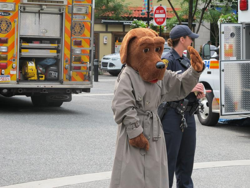 McGruff the Crime Dog greets visitors to Market Square.