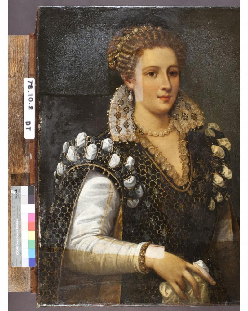 Portrait of Isabella de' Medici mid-restoration