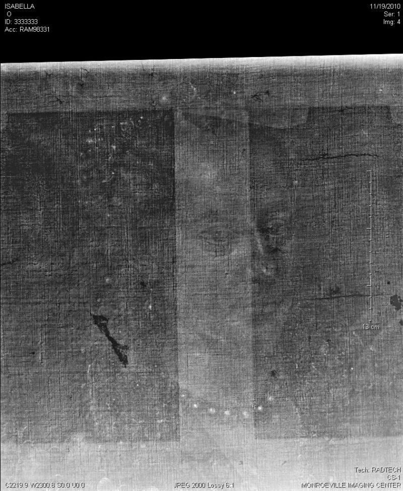 X-Ray detail showing a different face below the visible painting