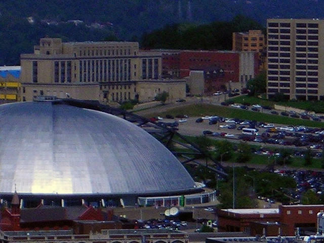 Construction of the old Civic Arena in the Lower Hill District displaced 8,000 residents.