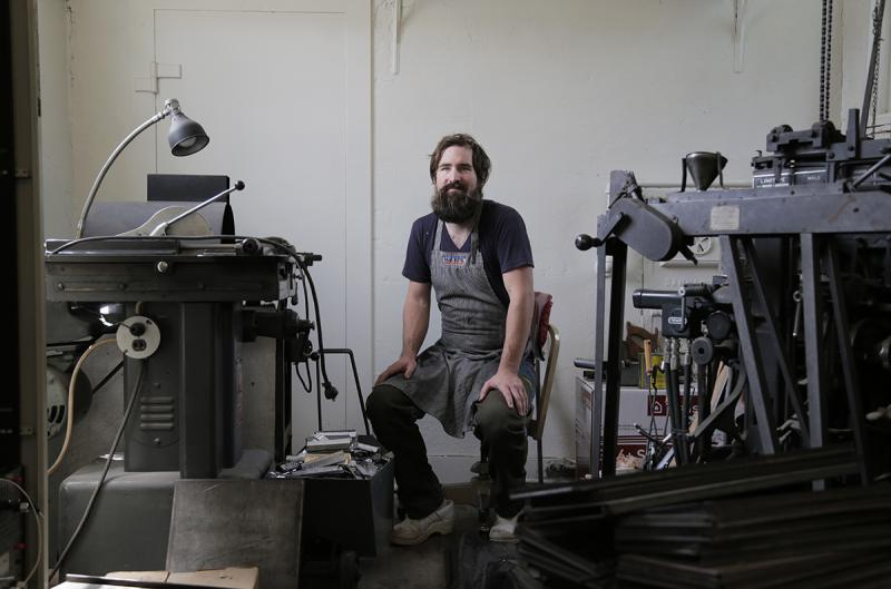 Brandon Boan is co-owner of the Tip Type letterpress print shop in Wilkinsburg.