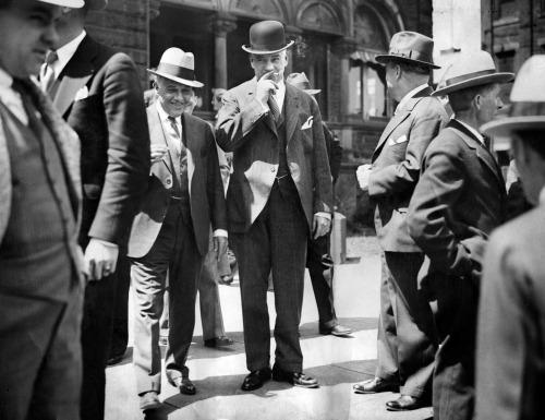 Mayor Charles H. Kline (center) on the first day of his trial in 1932.