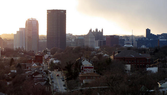 The city hopes that tax abatements generated in the Lower Hill District will help revitalize the rest of the community. Here, a view of downtown from the Upper Hill.
