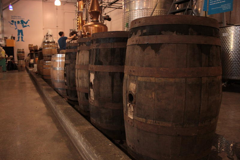 Most Western Pennsylvanians wouldn't have produced the volume of whiskey in this line of barrels at Wigle Whiskey. Distilling was more of an insurance policy.