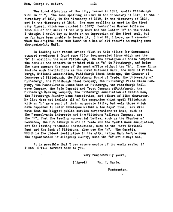 """Postmaster William H. Davis collected evidence to support the case for reinstating Pittsburgh's """"h."""" Page 2"""