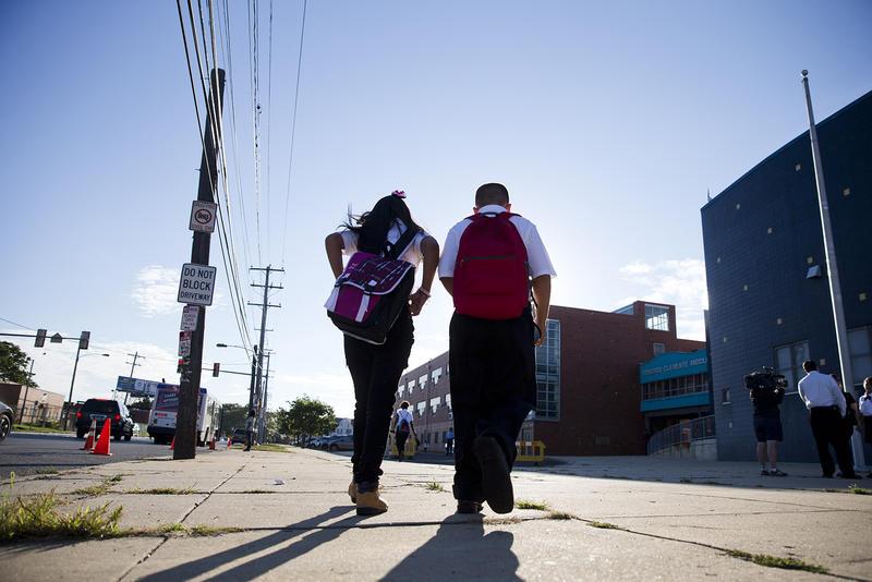 Students arrive for school Monday, Sept. 8, 2014, in Philadelphia.