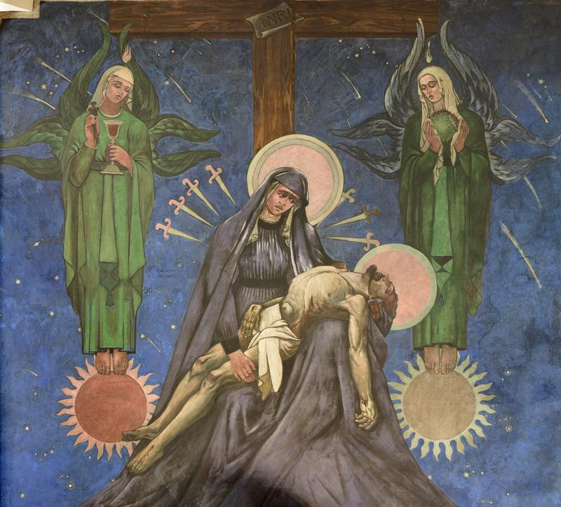 Maxo Vanka's interpretation of the Pietá: the Blessed Mother holds Jesus across her lap.