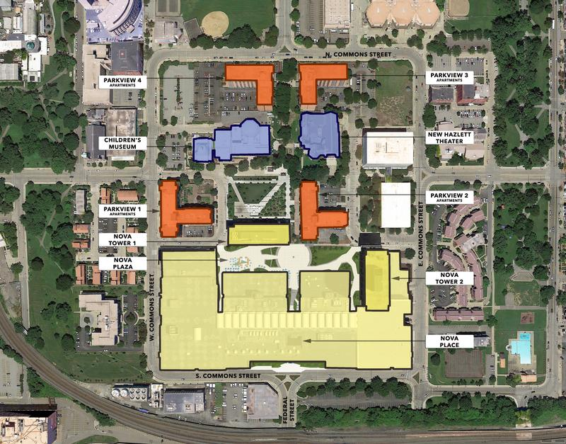 Renderings show Allegheny Center Mall redesigned as Nova Place.  The 1.2 million square-foot former retail complex will include offices for new and existing tenants, a conference center, gym, parking, restaurants, coffee shops and other facilities.