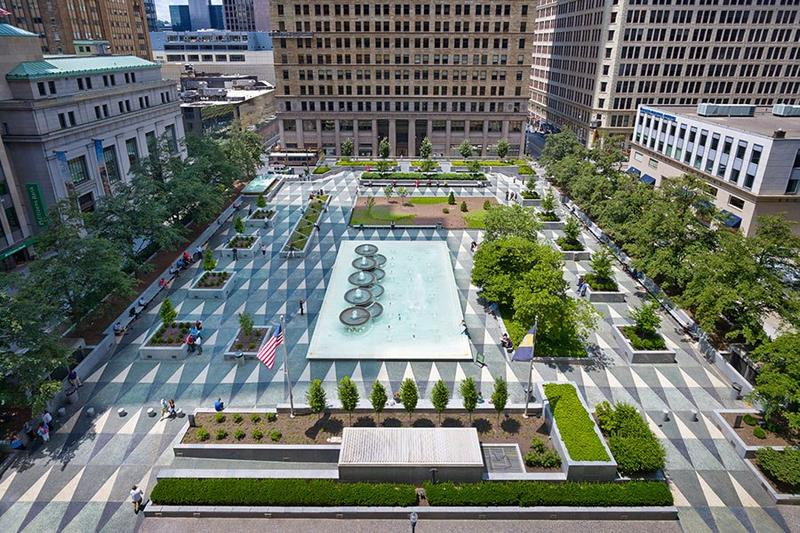 Mellon Square after its re-opening in 2014.
