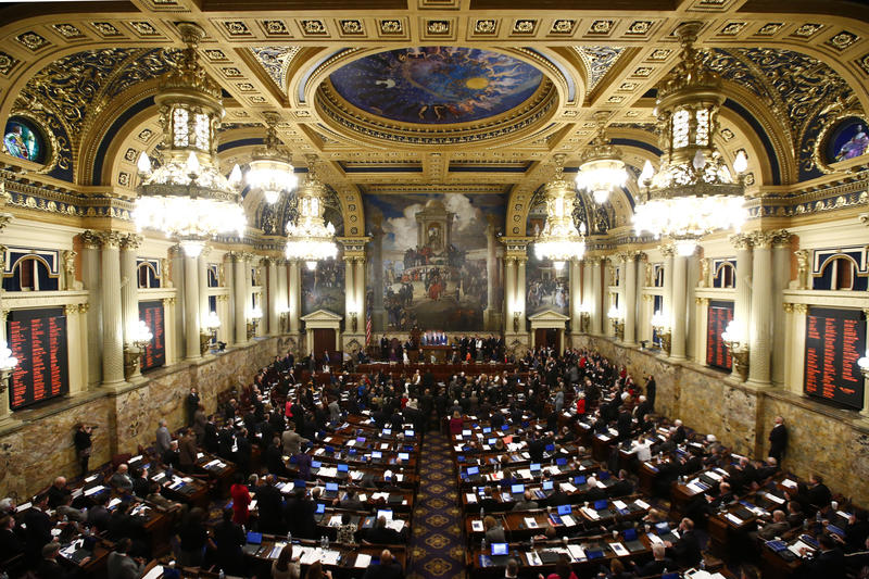 Gov. Tom Wolf delivers his budget address for the 2015-16 fiscal year to a joint session of the Pennsylvania House and Senate on Tuesday, March 3, 2015, in Harrisburg, Pa.
